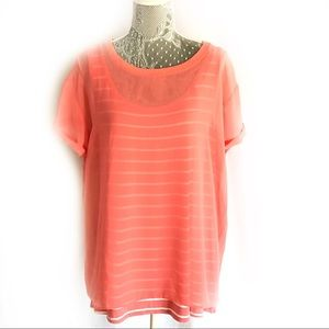 New NYDJ striped tank sheer shirt overlay Size XL
